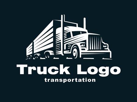 Logo illustratie van een vrachtwagen met aanhanger