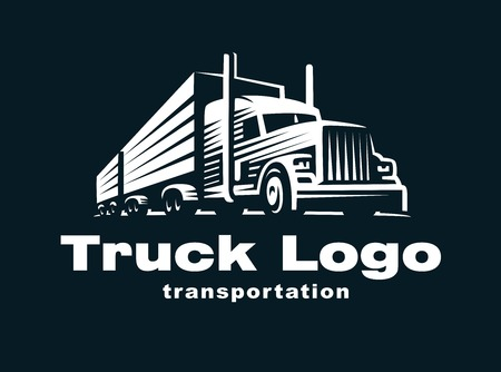 moving truck: Logo illustration of a truck with trailer