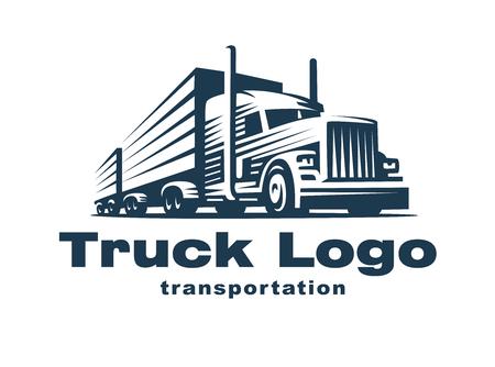 トレーラーが付いているトラックのロゴ イラスト。