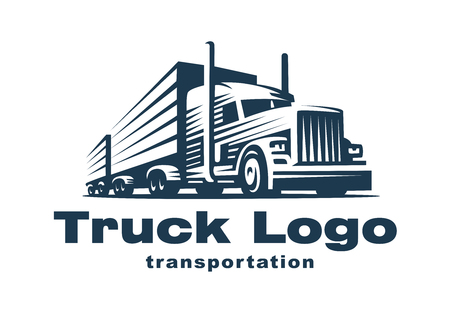 transportation silhouette: Logo illustration of a truck with trailer.