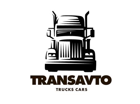 일러스트 트럭, 전면보기, 흰색 배경