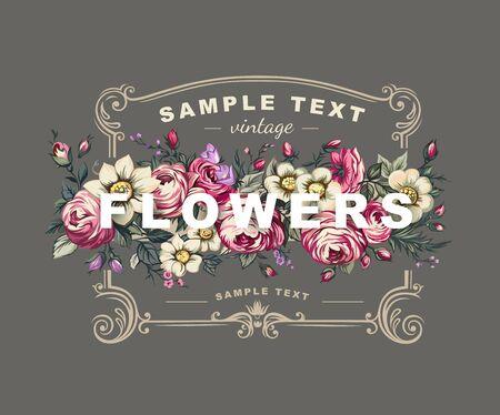 pink vintage: Vector floral label with a frame composed of detailed flowers illustrations. Illustration
