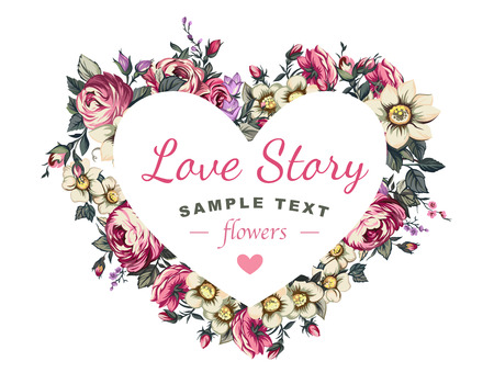 loved: Label heart and flowers Gift for your loved Illustration