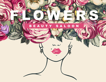 salon background: Illustration of a girl and flowers, Background of flowers, beauty salon Illustration