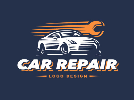 car speed: car repair on dark background. high speed repair Illustration