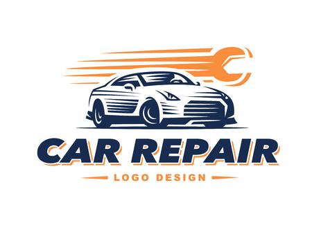 car speed: car repair on light background. high speed repair