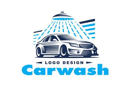 ontwerp auto wassen op een lichte achtergrond. Stock Illustratie