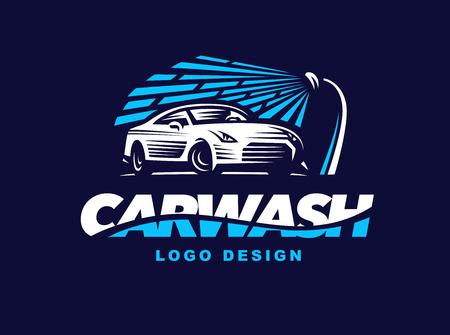 autolavaggio: progettazione lavaggio auto su sfondo scuro. Vettoriali