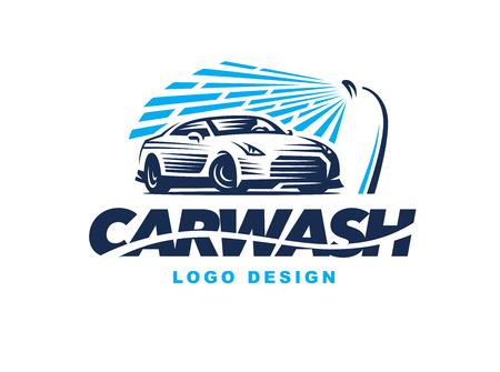 明るい背景に洗車をデザインします。  イラスト・ベクター素材