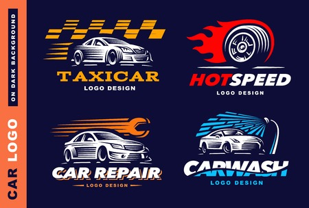competitions: car, taxi service, wash, repair, Competitions On dark background