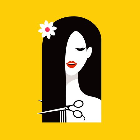 barbershop: Barbershop illustration. Hair salon with pretty woman.