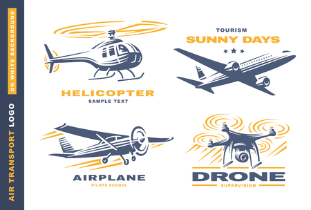 drone: Air transport Logo illustration on a white background