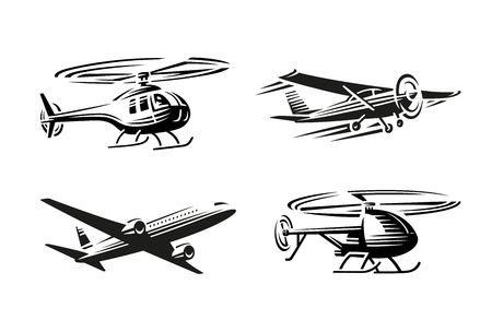 Luchtvervoer illustratie. Zwart silhouet op een witte achtergrond