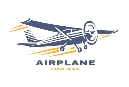 Logo dell'illustrazione di vettore del club dell'aeroplano su fondo bianco