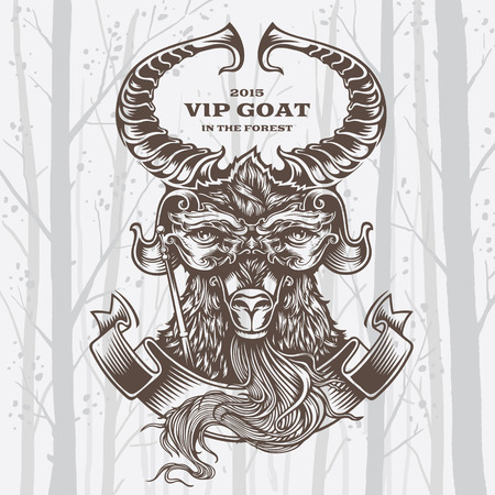 branching: Vector Illustration Goat on White background. Decorative graphics.