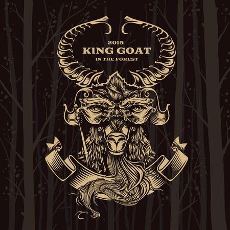 branching: Vector Illustration Goat. Decorative graphics on dark background