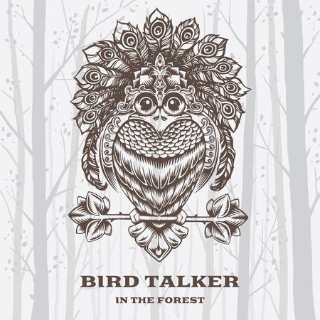 talker: Vector Illustration Bird Talker on White background. Decorative graphics.