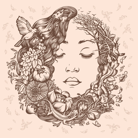 wag: Illustration Girl as Nature. Beginning of life. The cycle of nature.