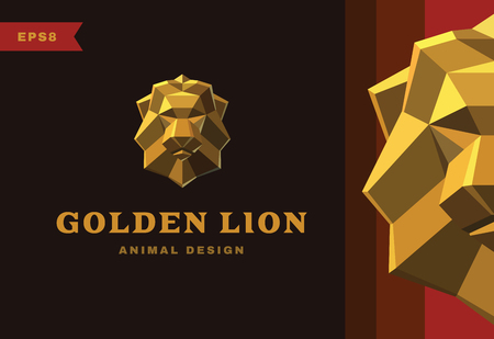 low prizes: Vector logo. Golden Lion Polygon style icon