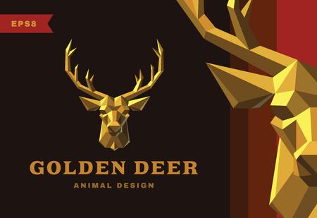 golden: Vector logo. Golden Deer Polygon style icon Illustration
