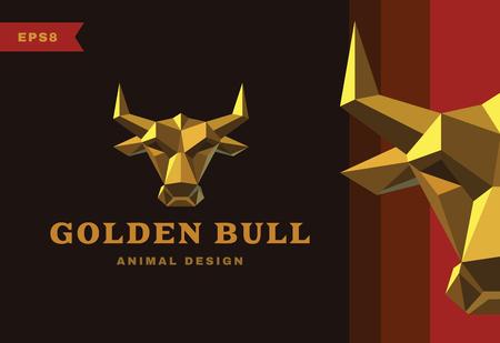 low prizes: Vector logo. Golden Bull. Polygon style icon