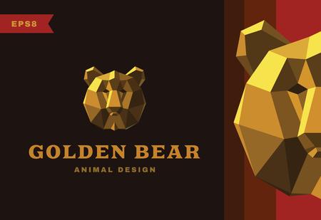 bearish business: Vector logo. Golden Bear Polygon style icon Illustration