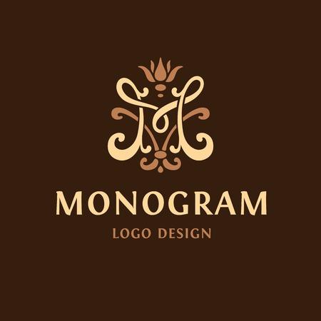 Monogram logo Emblem. The letter M vintge 向量圖像