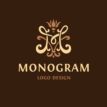 Monogram logo Emblem. The letter M vintge Иллюстрация