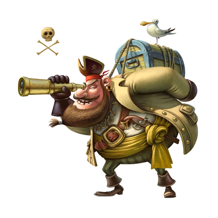 Funny character Pirate. Graphic illustration on the white background Stock Photo