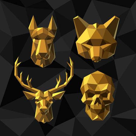 Vector illustratie Golden Dog, vossen, herten, Skull Polygon stijl