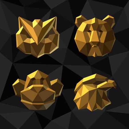 bearish business: Vector illustration Golden owl bear monkey Polygon style