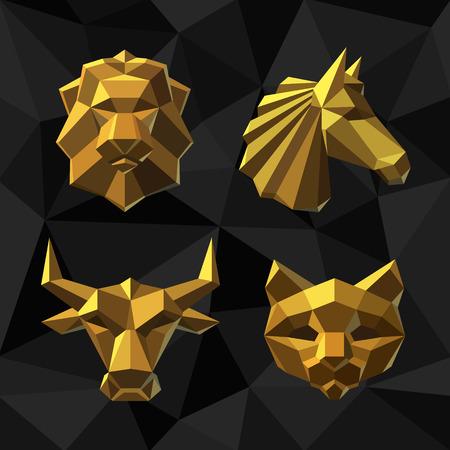 Vector illustration Golden animals Lion, Horse, Bull, Cat Polygon style