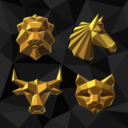 Vector illustration Golden animals Lion, Horse, Bull, Cat Polygon style