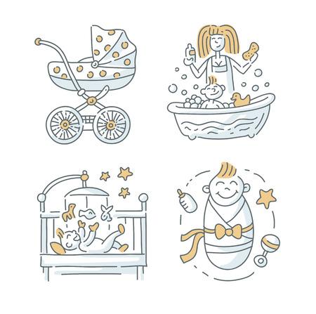 infant bathing: Baby illustration Set on the white background Illustration
