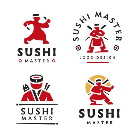 Maître Sushi Logo illustration sur le fond blanc Logo