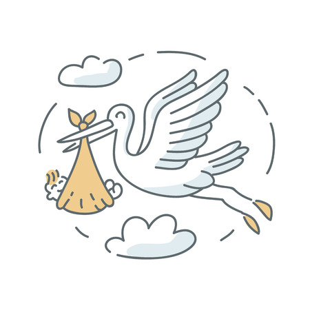 Stork and baby icon illustration on the white background