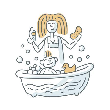 Bathing baby illustration on the white background