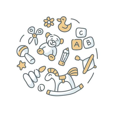 piramide humana: ilustración de los juguetes de los niños en el fondo blanco Vectores