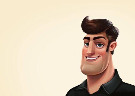 sexy men: Macho character illustration. Ladies man in a black shirt Stock Photo