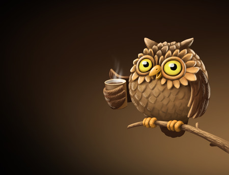 early: Night owl with coffee. Illustration on a dark background