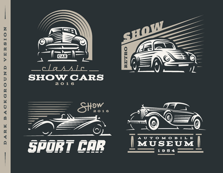 Classic car logos illustrations set on dark background. Illustration