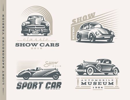 classic cars: Classic cars logo illustrations on light background Illustration