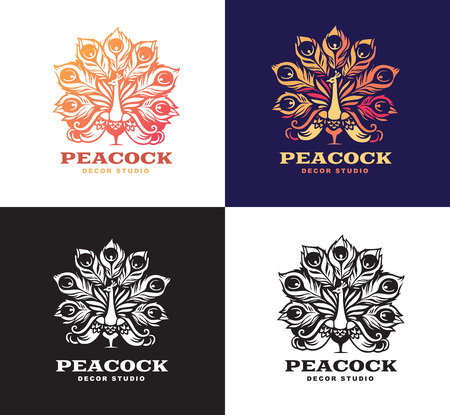 Illustration peacock, set logo design. Color version