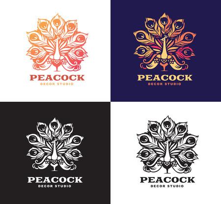 Illustration peacock, set logo design. Color version