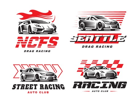 drag: Sport cars logo illustration on white background. Drag racing.