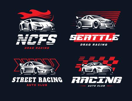 Sport car logo illustration on dark background. Drag racing. Vettoriali