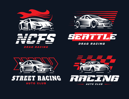 Sport car logo illustration on dark background. Drag racing. 矢量图像