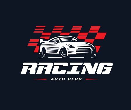 nitro: Sport car logo illustration on dark background. Drag racing