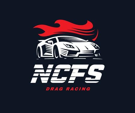 drag: Sport car logo illustration on dark background. Drag racing. Illustration