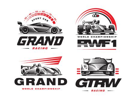 Sport cars logo set illustration on white background.  イラスト・ベクター素材